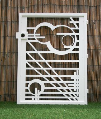 Custom Made Modern Pedestrian Gate - Mid-Century Modern Design - Wright - Modern Metal Gate