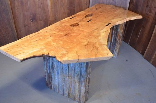 Custom Made 7' Maple Crotch Desk With Recycled Corrugated Metal Bases