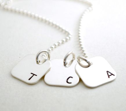 Custom Made Initial Necklace With Three Charm Mom Of Three Hand Stamped Necklace