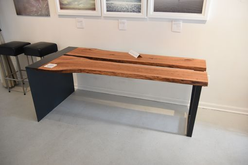 Custom Made Live Edge Metal Waterfall Dining Table