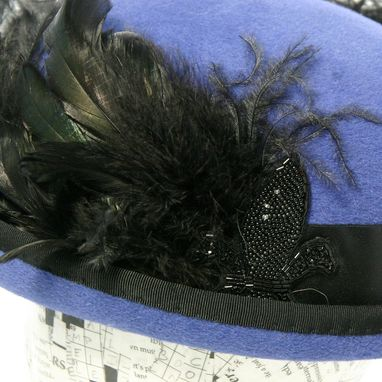 Custom Made Blue And Black Feather Downton Abbey Inspired Felt Hat: Cora