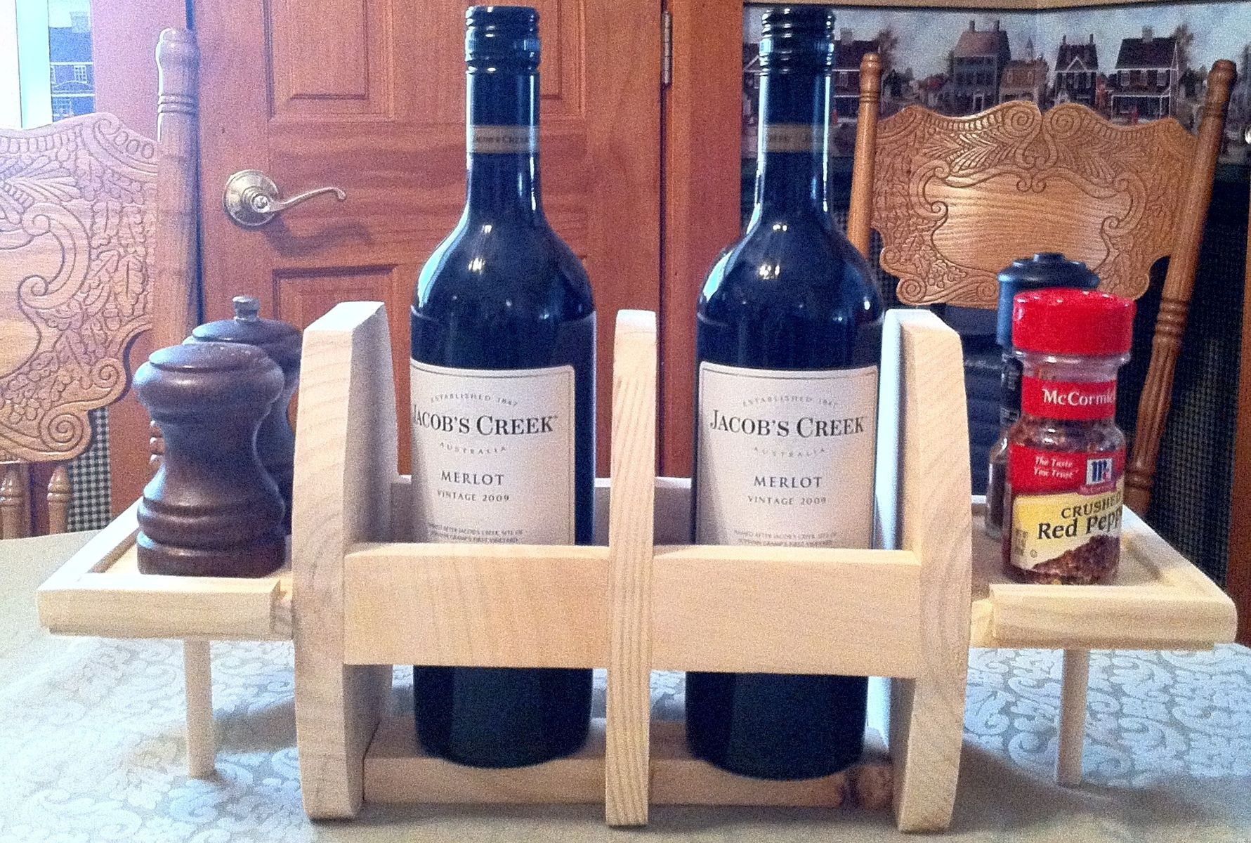 Custom 2 Bottle Table Top Wooden Wine Rack Condiment Holders By