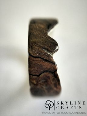 Custom Made Live Edge Spalted Maple Ring. Handcrafted Wood Ring On Sterling Silver.