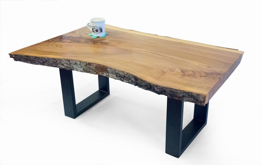 Custom Made Live Edge Elm Coffee Table With Metal Hand Forged Legs