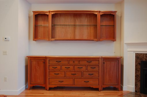 Custom Made Arts And Crafts Mahogany Living Room Buffet With Matching Shelving
