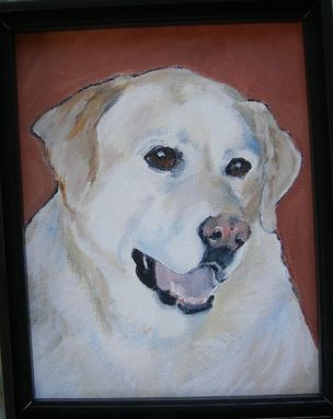Custom Made Peaches-- Yellow Lab Custom Dog Pet Portrait