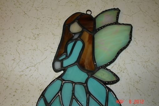 Custom Made Stained Glass Fairy / Angels With Flower Dress In Soft Teal / Green Blue With Blown Hair