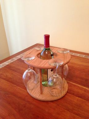 Custom Made Wine Glass And Bottle Holder