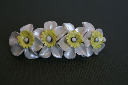Custom Made Barrette French Style Pearl White Yellow Wedding Jonquil, Daffodile, Naricissus Flower
