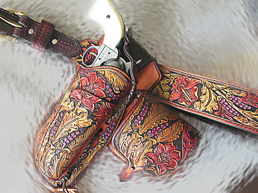 Buy A Hand Made Tooled Leather Tapered Gun Belt Sa1873