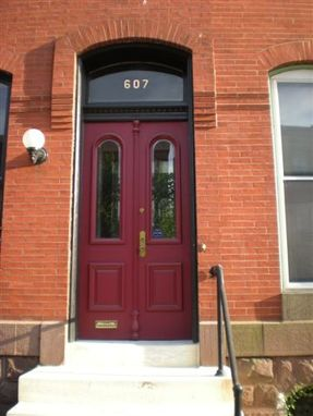Custom Made Exterior Doors For Historic Home With Raised Panels & Beveled Glass