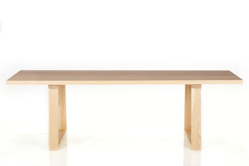 Custom Made Indoor/Outdoor Splayed Loop Dining Table, Solid White Oak