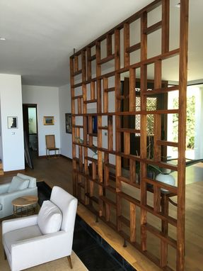 Handmade Solid Wood Geometric Room Screen Room Divider By