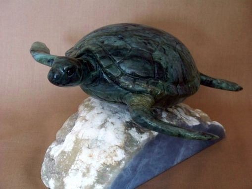 Custom Made Jade Sculpture Of A Green Sea Turtle