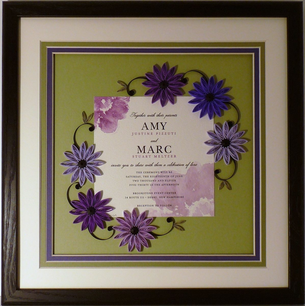 Hand Crafted Wedding Invitation Quilled Keepsake Framed Wall Art ...