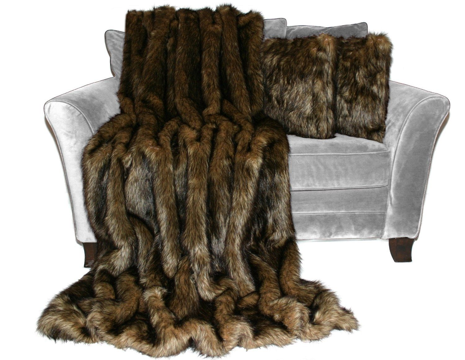 Hand Made Premium 60x84 Wolf Brown Black Faux Fur Throw Blanket And 18x18 Decorative Pillow Set ...