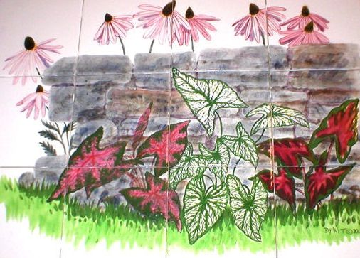 Custom Made Hand Painted Tile Mural: Caladiums And Coneflowers