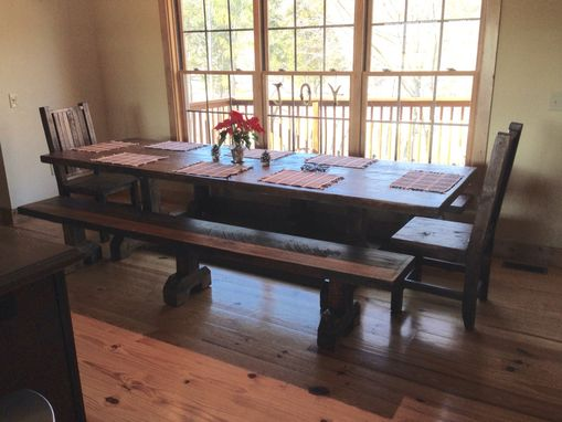 Custom Made Trestle Table, Bench, And Chair Set