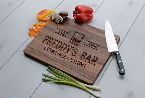 Custom Made Personalized Cutting Board, Engraved Cutting Board, Wedding Gift – Cb-Wal-Freddy's Bar Classic