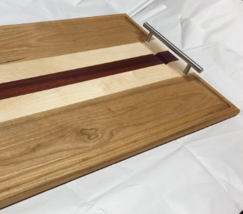 Custom Made Cherry, Rock Maple And Bloodwood Carving Board