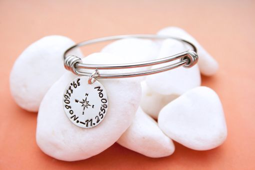 Custom Made Custom Coordinates Bangle Charm Bracelet