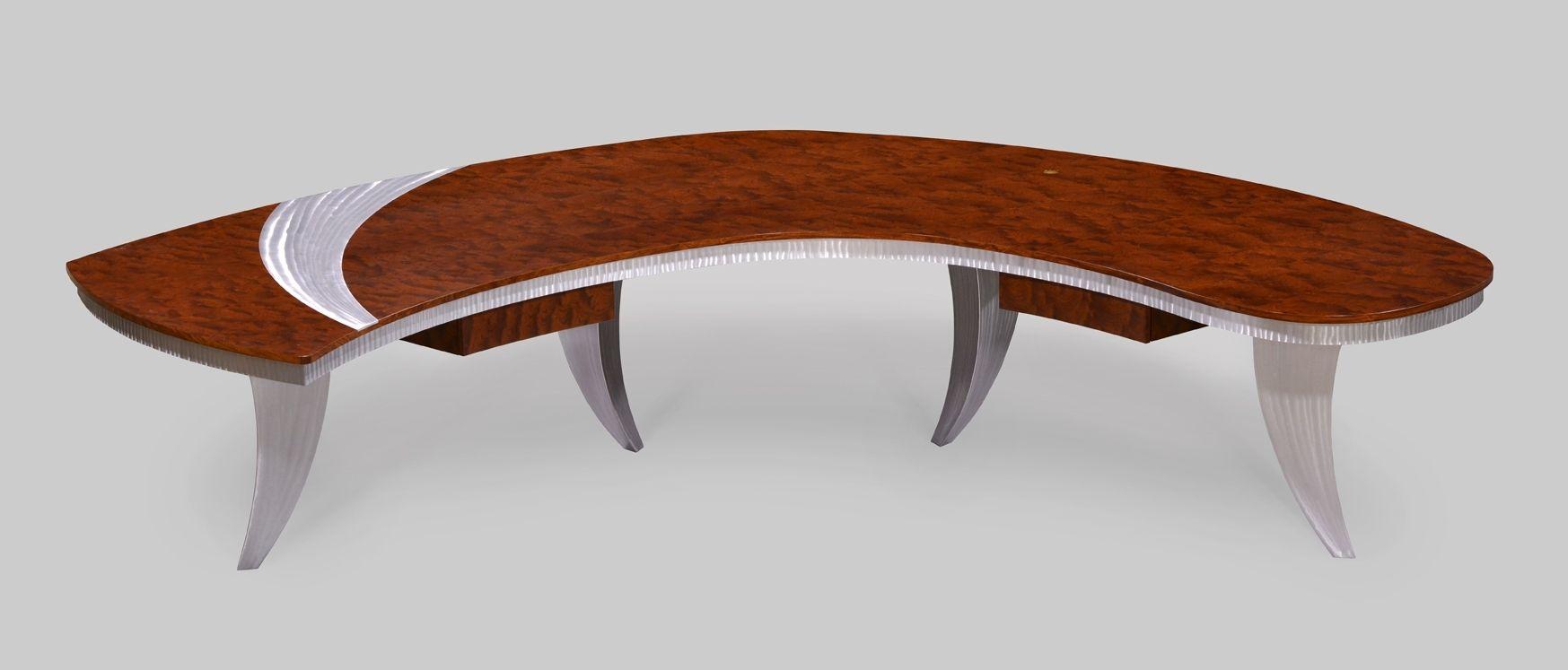 Custom executive desks - Custom Made Paradigm Executive Desk In Pommele Bubinga Custom Aluminum Legs