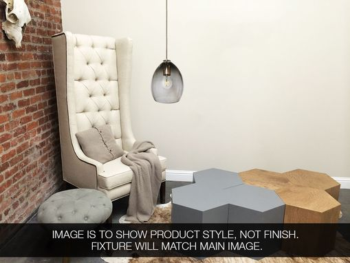 Custom Made Hand Blown Nickel Smoke Grey Glass Pendant Light