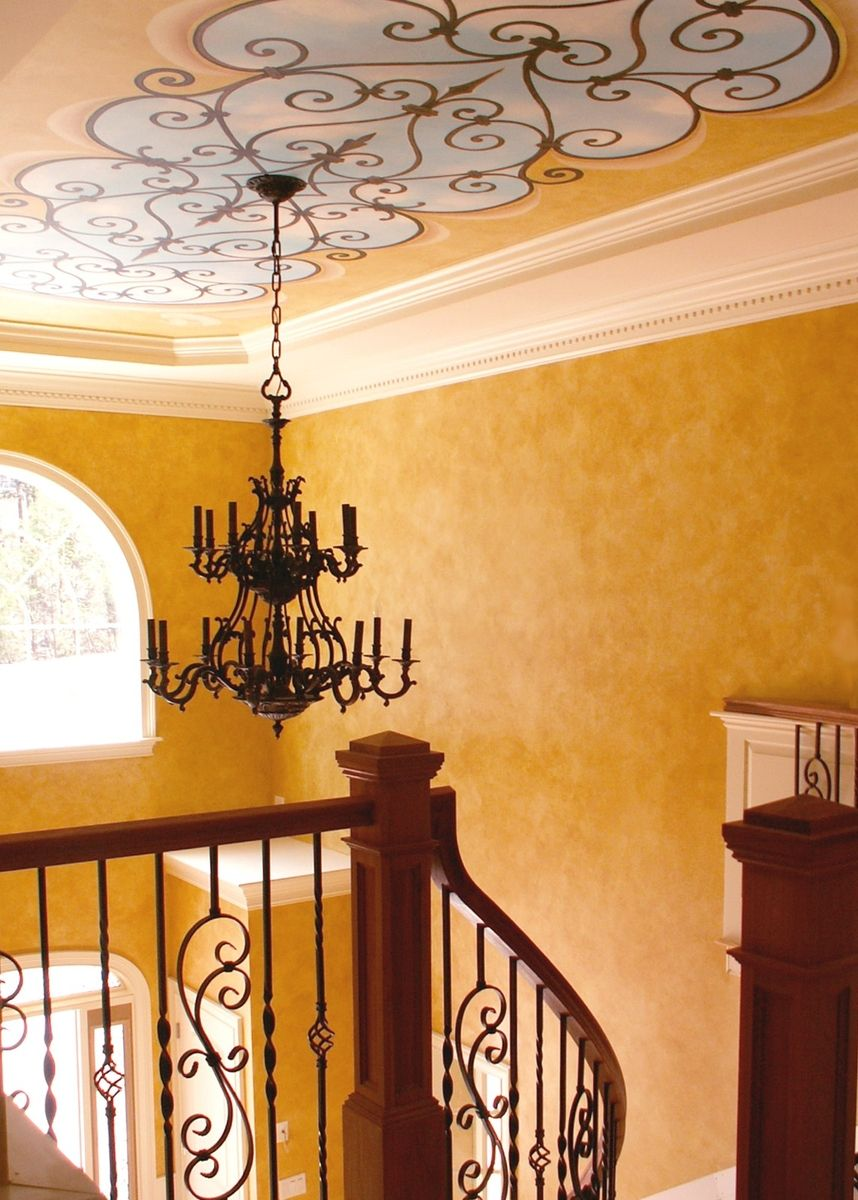 Hand Crafted Wrought Iron Ceiling Mural Installation And Parchment ...