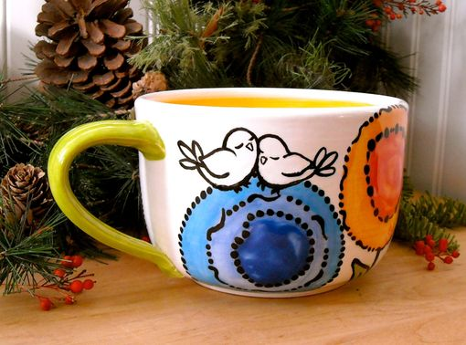 Custom Made Ceramic Pottery Large Rainbow Flower Soup Mug