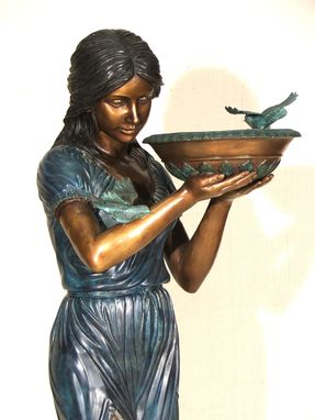 Custom Made Bronze Garden Fountain, Girl Holding A Bowl With 2 Birds