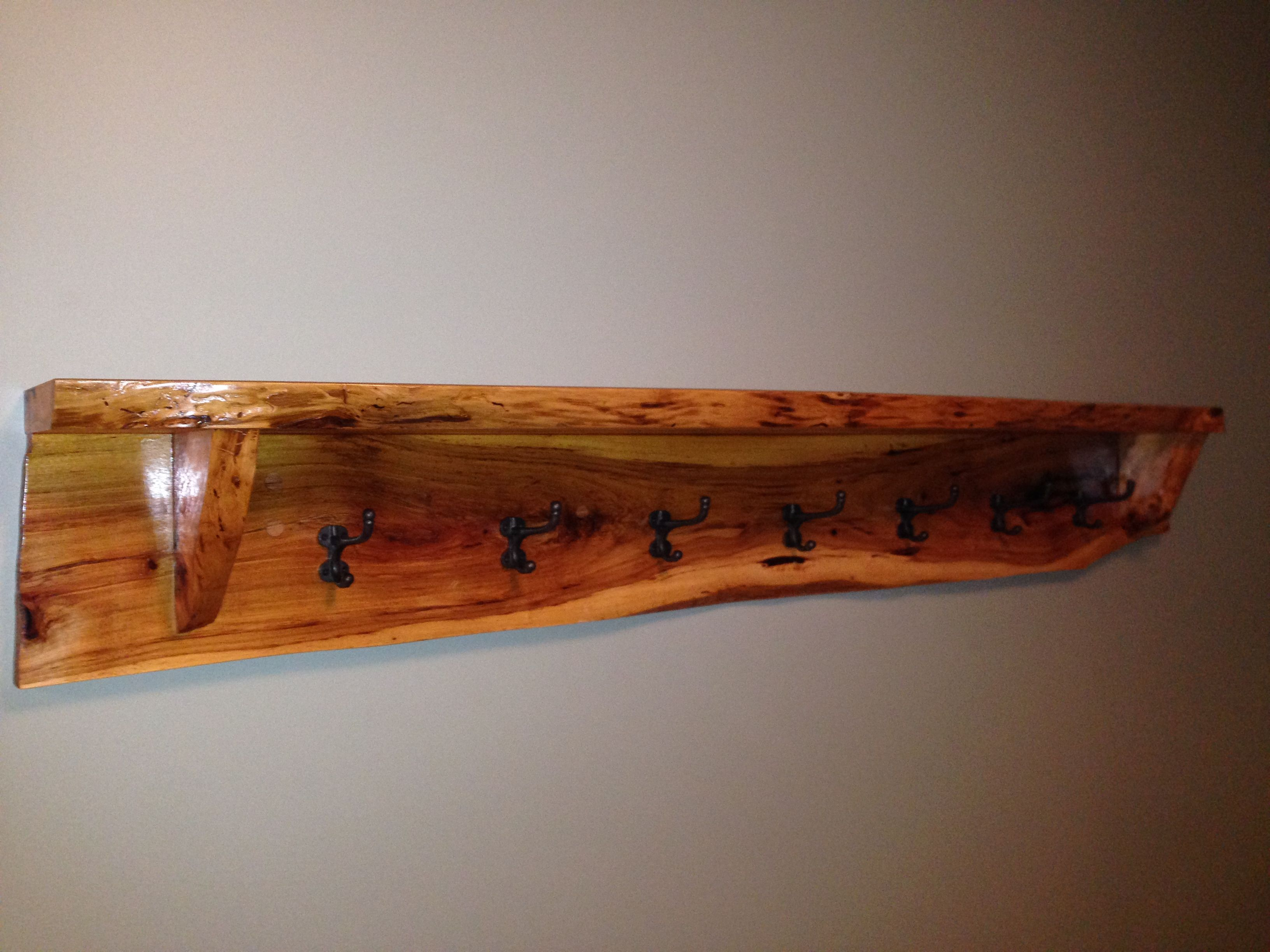 Handmade Live Edge Hickory Shelf Coat Rack By Black Swamp