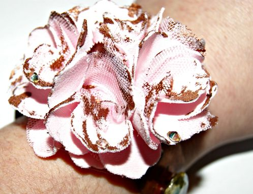 Custom Made Ooak Bracelet - Vintage Copper, Cotton Flower, Patina, Rhinestone
