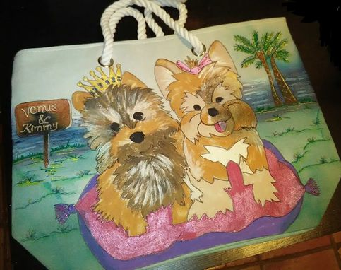 Custom Made Custom Made Hand Painted Tote Bag With Your Pets Painting