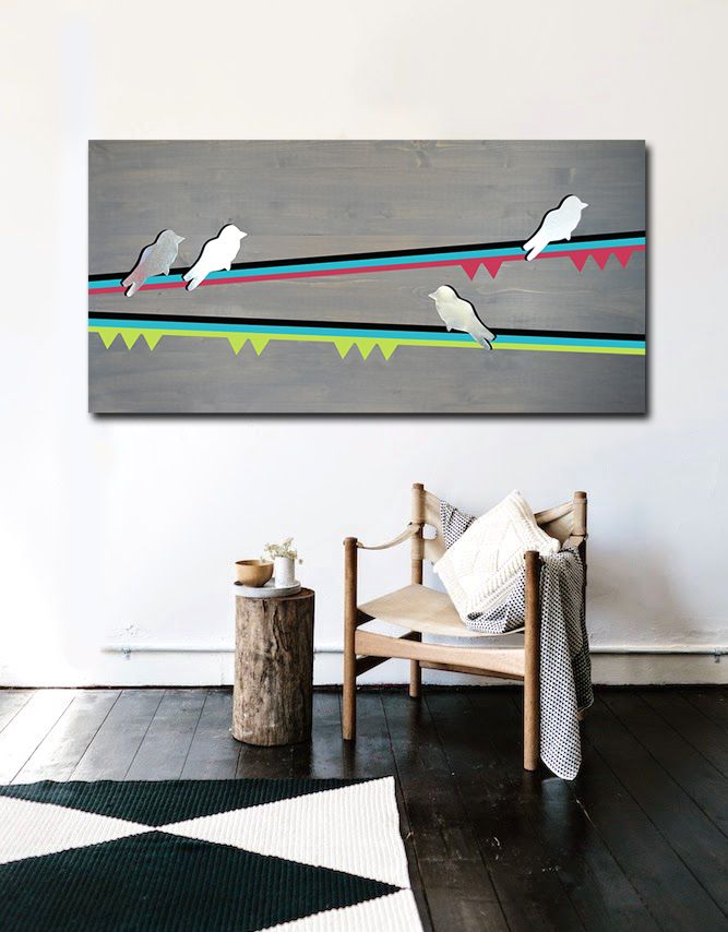 Buy a Hand Made Birds 48x24 - Wood Wall Art, Metal Wall Art, Modern ...