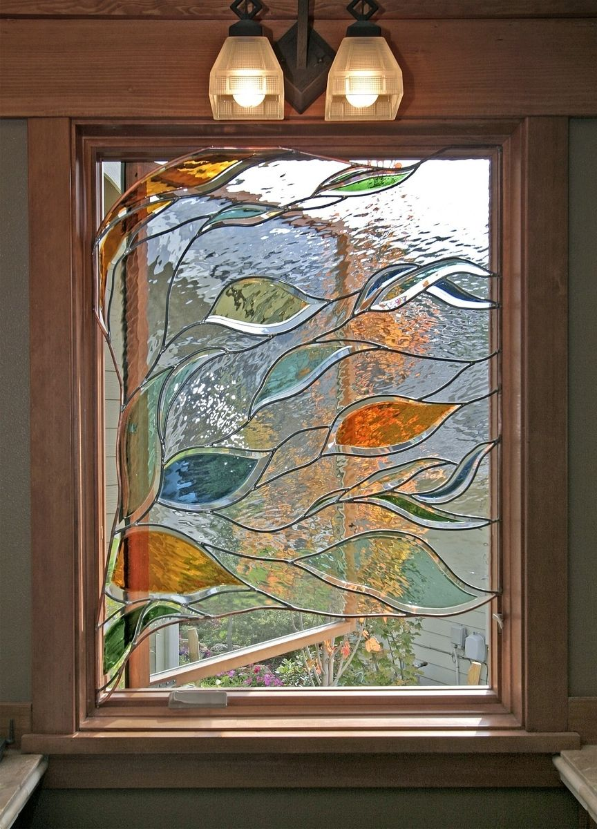 Handmade stained glass in a bathroom window by isaac d smith studio Bathroom designs with window in shower