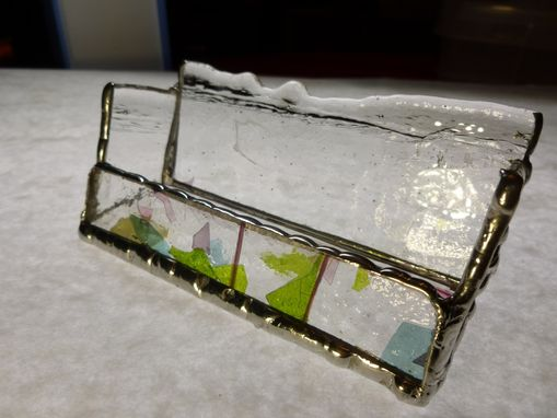 Custom Made Clear Stained Glass Business Card Holder With Multicolored Glass Flecks