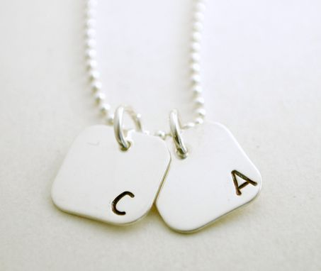 Custom Made Two Charm Personalized Initial Necklace Hand Stamped Sterling Silver