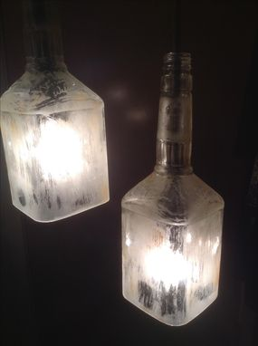 Custom Made Distressed Glass Kentucky Bourbon Bottle 2 Light Pulley Pendant Chandelier
