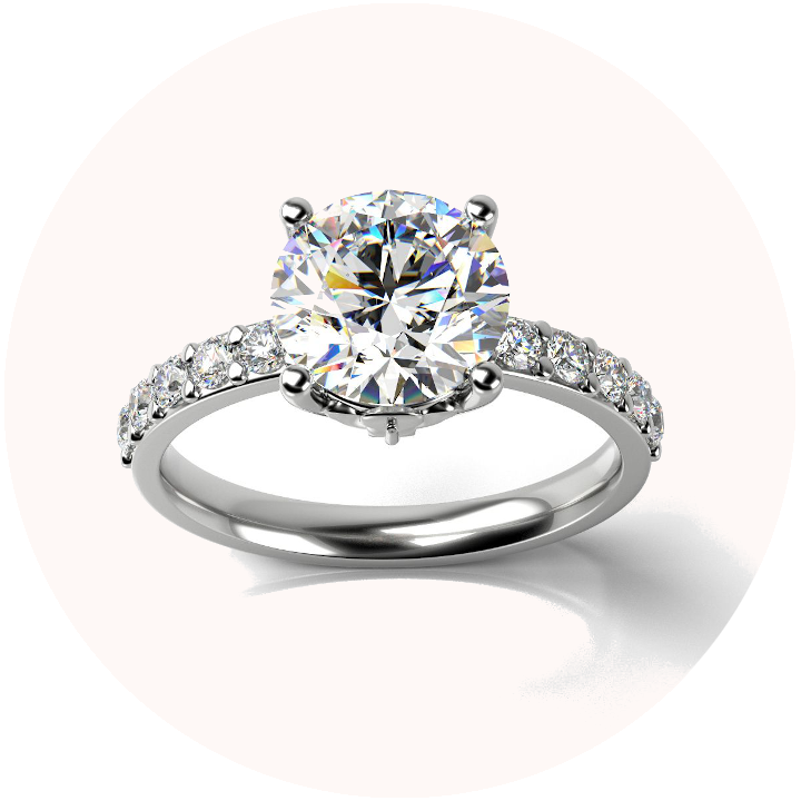 3D rendering of solitaire diamond engagement ring