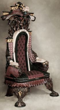 Custom Made Hand-Carved Rosewood Inlaid Chair