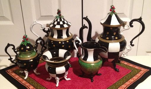 Custom Made Custom Hand Painted Silver Tea Set - Tea Pot - Listing Is Price To Paint Your Tea Set