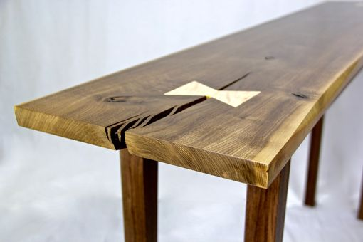 Custom Made Live-Edge Walnut Console Table With Tiger Maple Butterfly Tenons