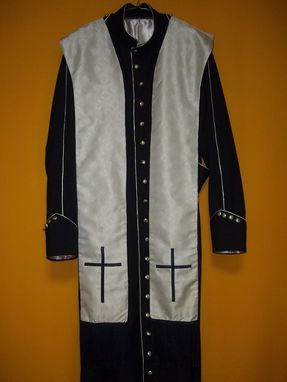"Custom Made Stole For Clergy Hand Made In Silver Jacquard Qnd Finised In Navy Blue With Cross And 5 1/2 "" Fringe"