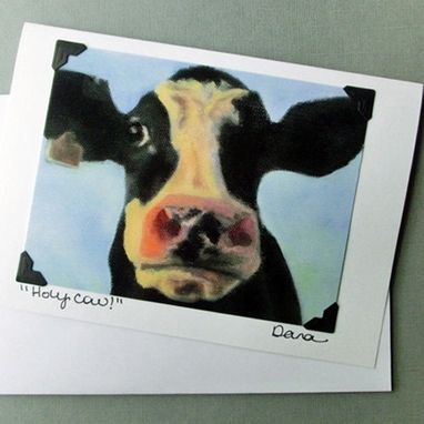 Custom Made Cow Card - Holy Cow - Funny Animal Art Card - Cow Postcard