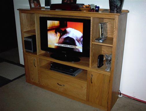Custom Made Solid Oak Entertainment Center