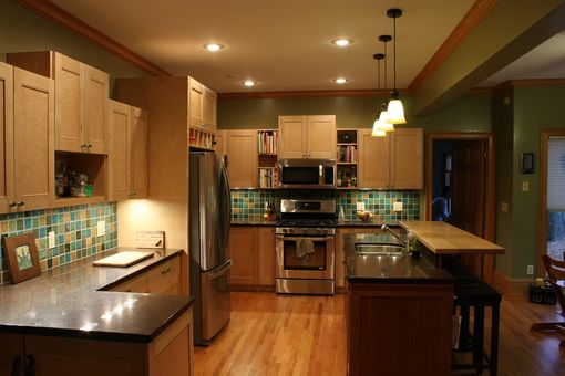 Custom Made Birds-Eye Maple Kitchen Cabinets