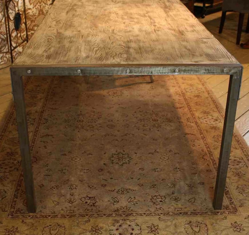 Custom Made Urban Dining Table Reclaimed Wood Top Distressed Metal Legs