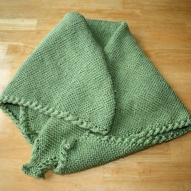 Custom Made Custom Knit Baby Blanket - Handmade Green Cable