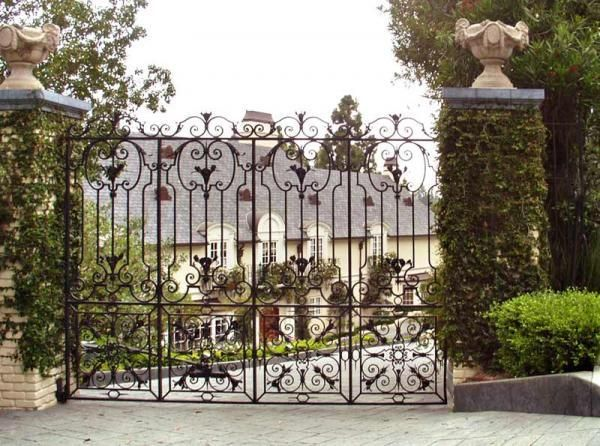 Hand Made Wrought Iron Entry Gate By Scottsdale Art