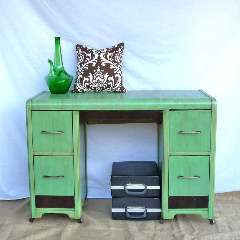 Custom Made Desk Refinished Art Deco In Antique Jade And Black Onyx